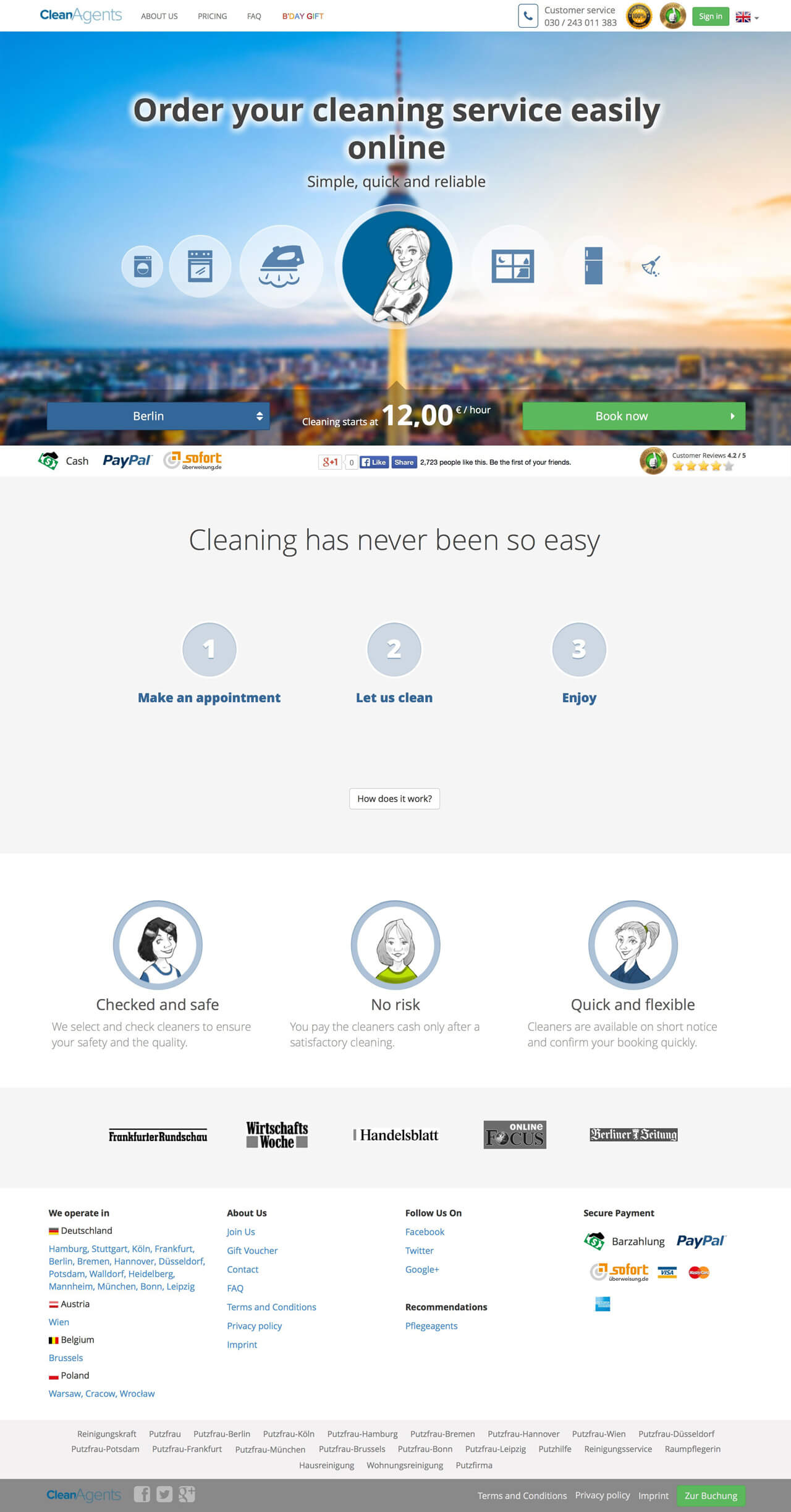 CleanAgents website - main page