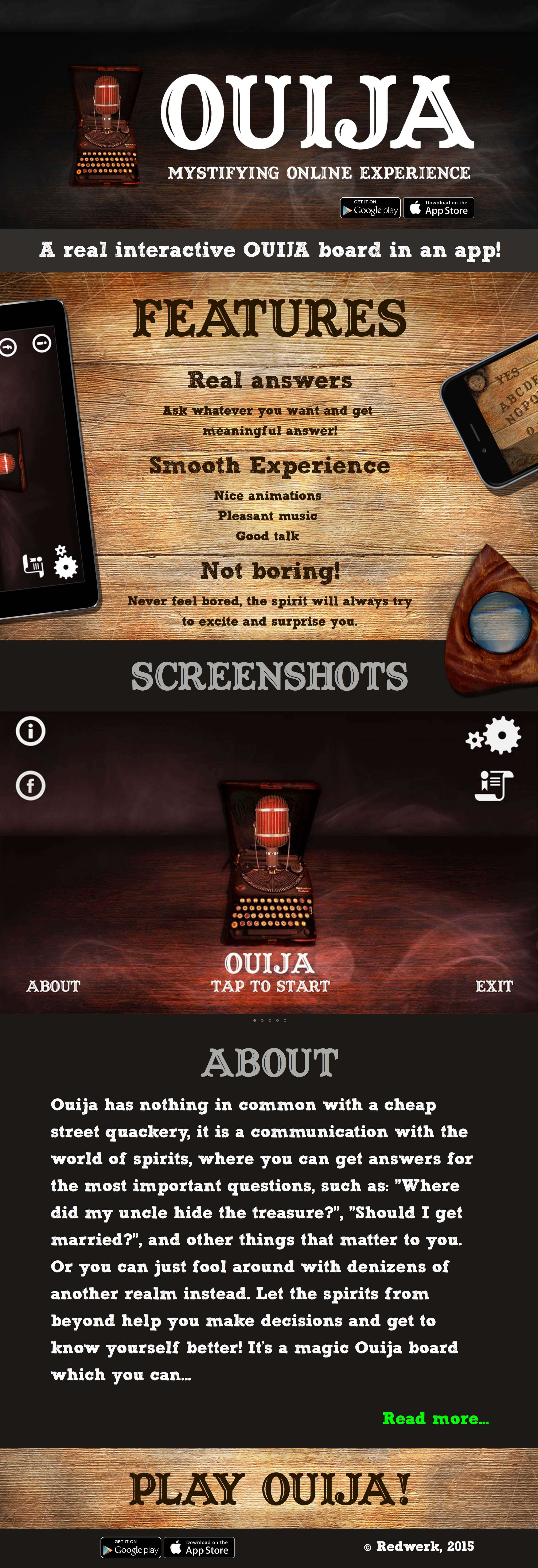 All about Redwerk's Ouija board app on the website