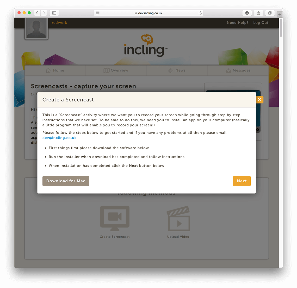 Incling screencasting app: Create a screencast / Redwerk company
