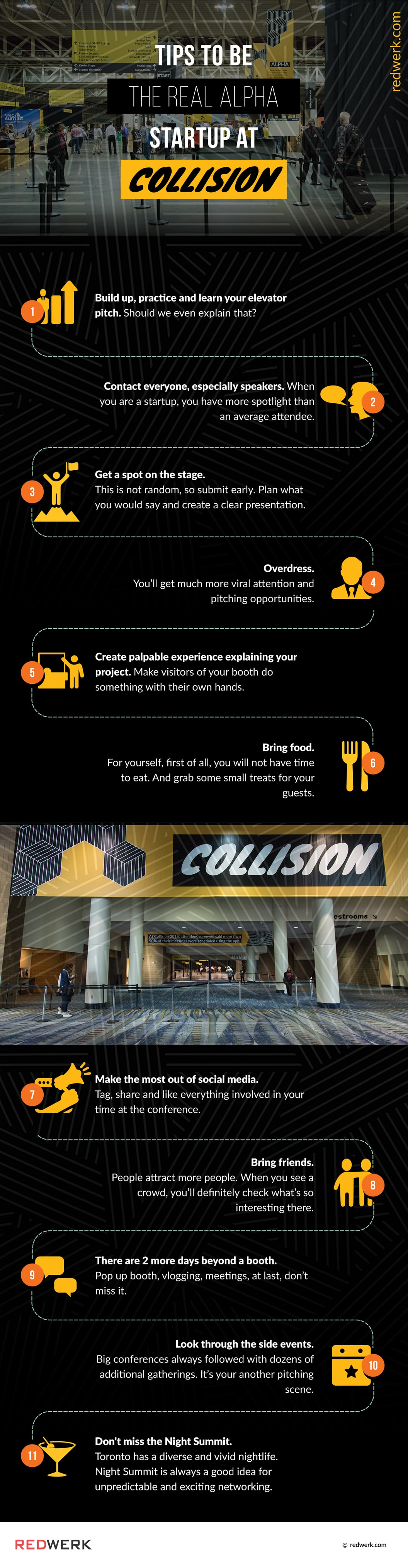 Collision Tech Conference 2019 in Toronto - A Dozen Tips to be the Real Alpha at Collision Conf (Infographic)